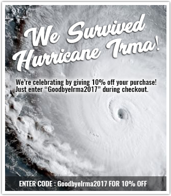 Enter GoodbyeIrma2017 into the coupon code section at checkout to obtain 10% off your purchase.