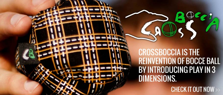 Crossboccia is the reinvention of Bocce Ball by introducing play in 3 dimensions. Crossboccia balls will rest on uneven surfaces. A vertical vector becomes part of the game, so stairs, tables and chairs can be played upon.