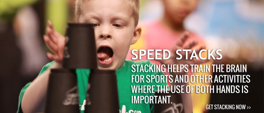 Stacking helps train the brain for sports and other activities where the use of both hands is important.